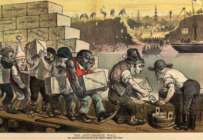 """The anti-Chinese wall —The American wall goes up as the Chinese original goes down.""  By Friedrich Graetz, for Puck magazine, 29 March 1882. Accessed online at http://nomoreexclusion.org/wp-content/uploads/2017/04/the-anti-chinese-wall.png on 13 Se"