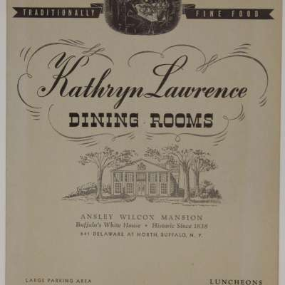 Menu cover, from the Kathryn Lawrence Dining Rooms